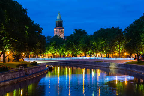 Night view of Turku. River through the city.