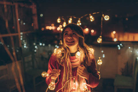 Girl with lights