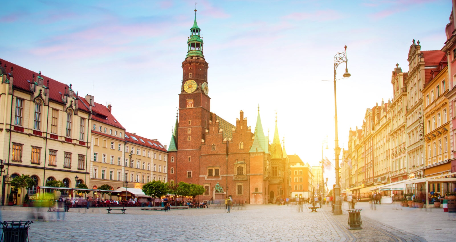 fantastic urban landscape with Town Hall on the medieval Market square in Wroclaw (capital of Silesia), Poland, Europe at sunset.