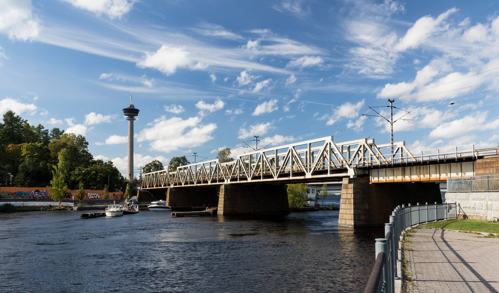 Finland and Tampere, Tammerkoski. A bridge over water.