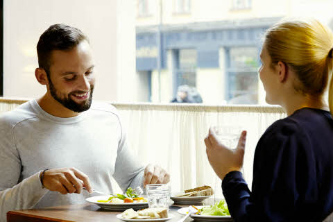 Couple, breakfast, restaurant