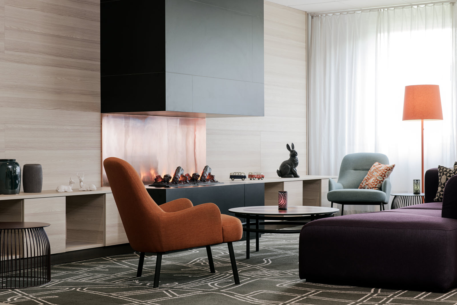 Scandic Segevang, lobby, fireplace