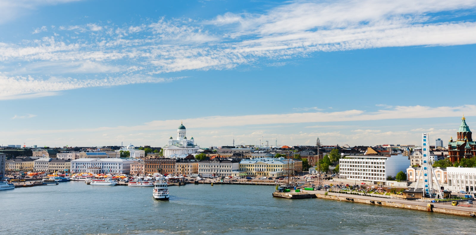View over central Helsinki, skyview from the seaside. Summer feeling.